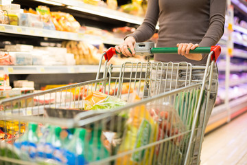 Detail of a woman shopping in a supermarket