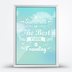 Summer retro poster in a frame.