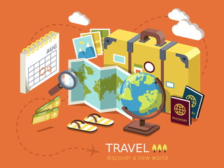 travel essentials flat 3d isometric infographic
