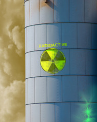 Radioactive waste in leaking container tank