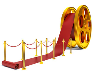 Cinema film roll and red carpet. 3d illustration