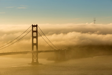 Wall Mural - Low fog at Golden Gate Bridge San Francisco