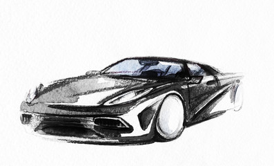 Car. Art sketch . Sport Car. Pencil drawing
