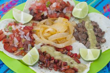 Tasty Mexican taco plate closeup