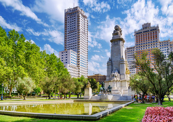 The Cervantes monument, the Tower of Madrid (Torre de Madrid) an