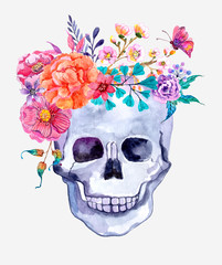 Watercolor flowers and skull background