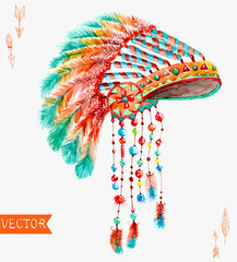 Tribal indian hat, watercolor background