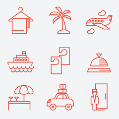 Hotels icons, thin line style, flat design