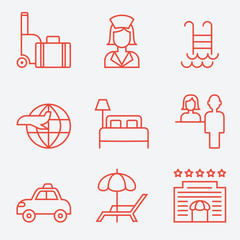 Hotel icons, thin line style, flat design