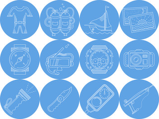 Blue round icons collection of diving