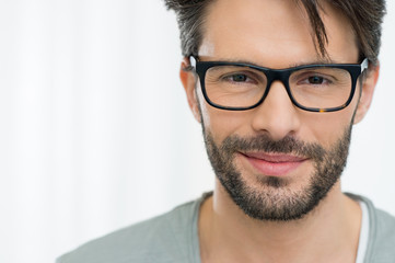 Satisfied man with spectacle