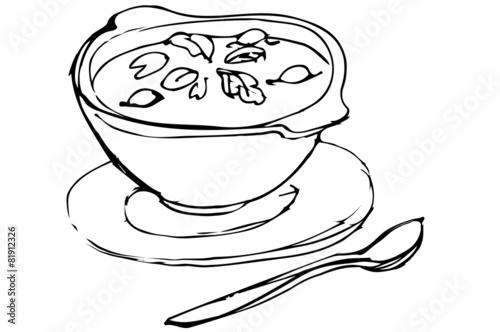 Раскраски тарелка с супом