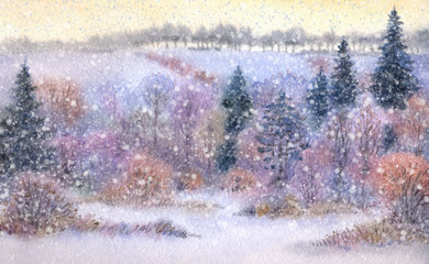 Watercolor landscape. Snowfall over the valley