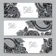 Set of three grey horizontal banners with decorative ornamental