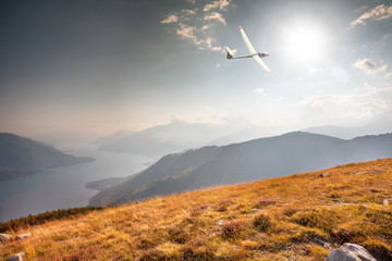 in flight with glider on lake Como (IT)