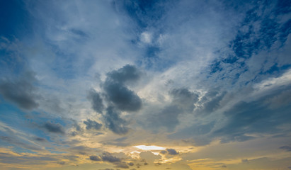 Beautiful Blue sky with clouds and light yellow