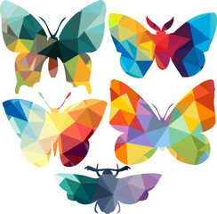 Triangle polygonal silhouettes of butterfly
