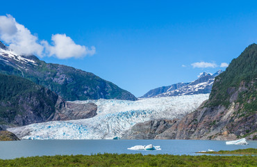 Mendenhall Glacier and Lake in Juneau, Alaska, USA