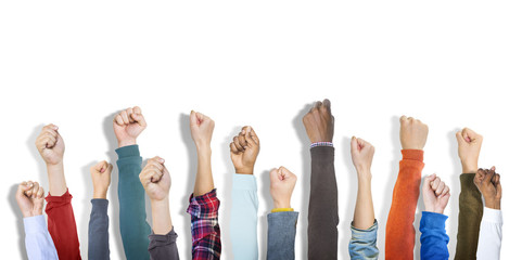Group of Hands Raised and Background Concept