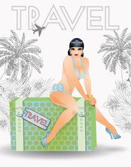 Summer travel sexy pin up woman, vector illustration