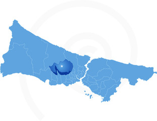 Map of Istanbul with each administrative district where Basakseh