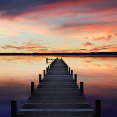 Romantische Abendstimmung, Badesteg am Starnberger See