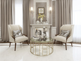 Fireplace area neoclassical style