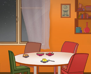 Illustration of kitchen - dining room. Table and chairs.