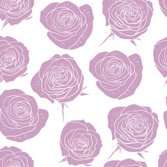 vector seamless pattern with pink roses