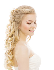 Woman Beauty Makeup Long Hair, Young Girl with Blond Curly Hairs
