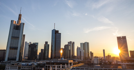frankfurt am main skyline sundown