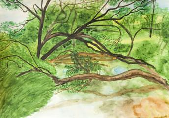 Summer landscape, painting