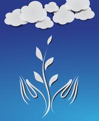 nuvole con mano e fiori