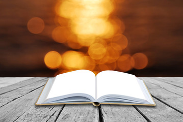 Open blank book with soft light background