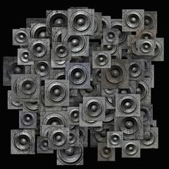 grunge gray party speaker woofer on black