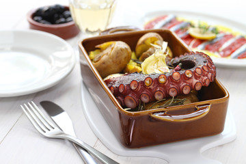 grilled octopus with potatoes, Portuguese cuisine