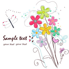Colorful doodle flowers border greeting card