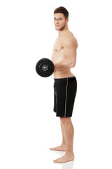 Muscular sports man weightlifting.