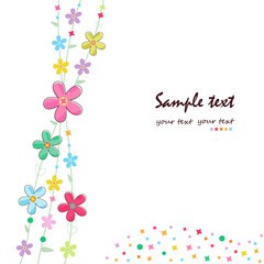 Simple summer flowers decorative greeting card