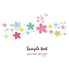 Summer flowers decorative greeting card