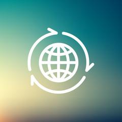 Globe with arrow around thin line icon