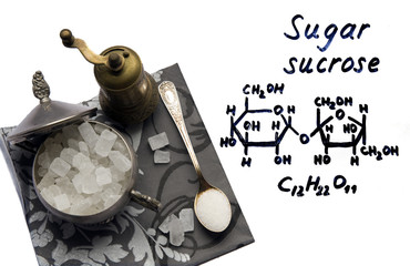The chemical formula of sucrose and sugar crystals in silver.