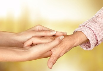 Care. Helping hands, care for the elderly concept