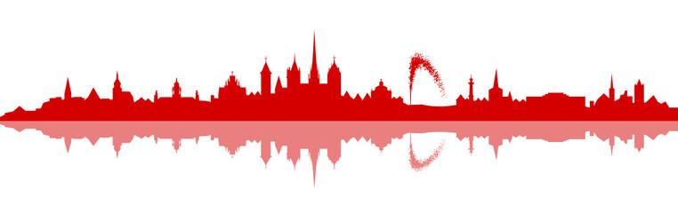 Skyline Genf rot
