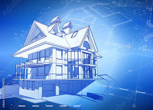 Blueprint house blue technology background stock image and blueprint house blue technology background malvernweather Gallery
