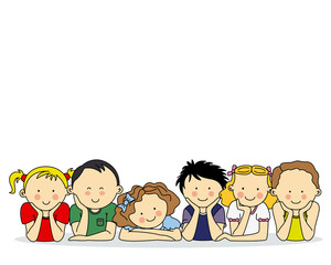 group of happy children. Space for text or photo