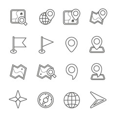 Map icons on white background.  Vector illustration.