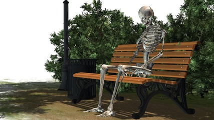 skeleton sitting on Park bench under a tree