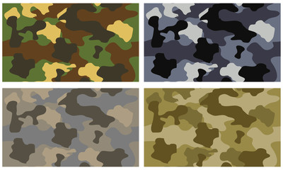 Camouflage seamless pattern with color variations
