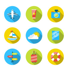 Flat modern set icons of traveling, planning summer vacation, to